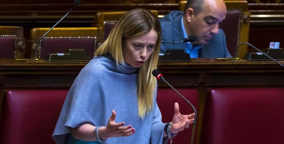 La presidente di Fratelli d'Italia, Giorgia Meloni, contro il voto di fiducia sulla legge elettorale.