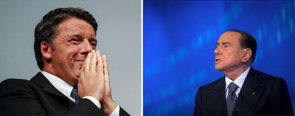 Il segretario del Pd Matteo Renzi e il leader di Forza Italia Silvio Berlusconi