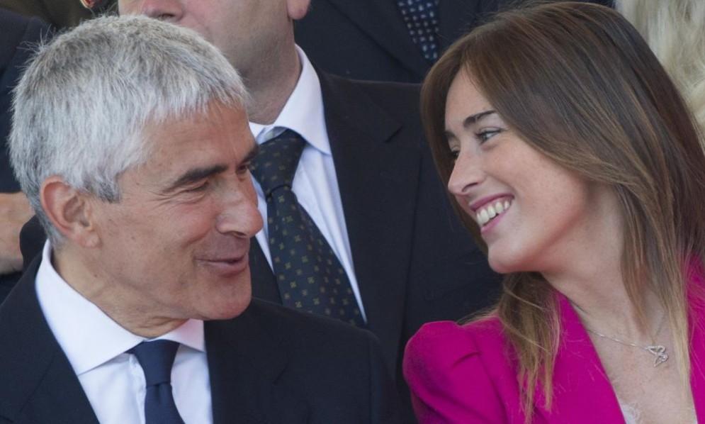 Il presidente della Commissione d'inchiesta sulle banche, Pier Ferdinando Casini, con Maria Elena Boschi.