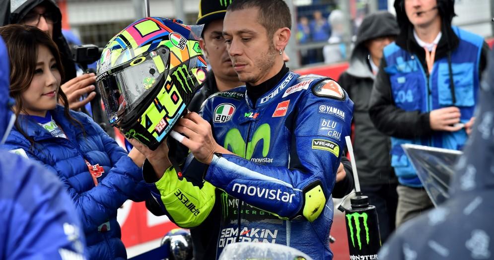 Valentino Rossi sulla griglia di partenza del Gran Premio del Giappone
