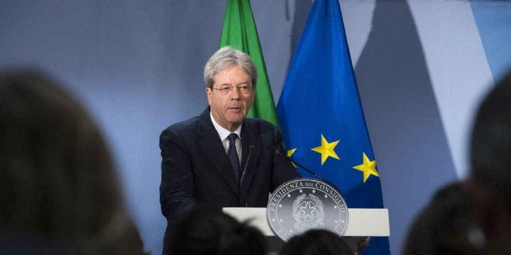 Il presidente del Consiglio Paolo Gentiloni durante il vertice europeo di Bruxelles