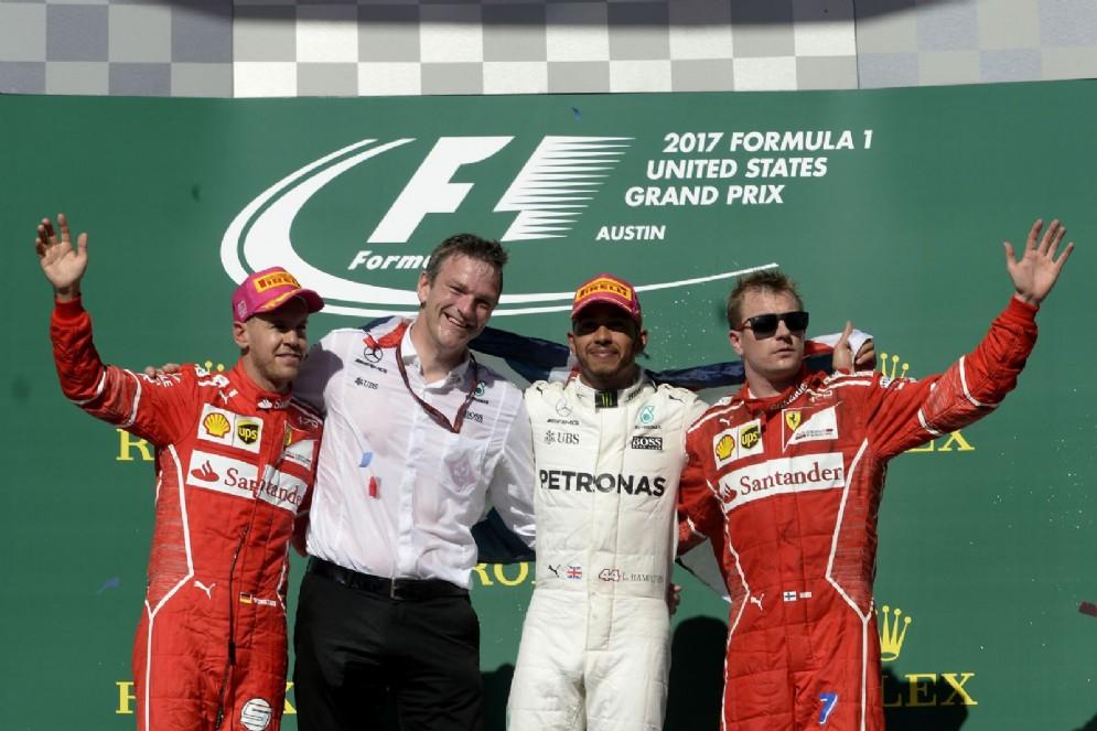 Il podio del GP degli Stati Uniti: Lewis Hamilton, Sebastian Vettel e Kimi Raikkonen