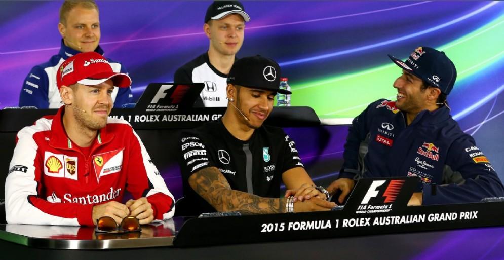 Sebastian Vettel, Lewis Hamilton e Daniel Ricciardo
