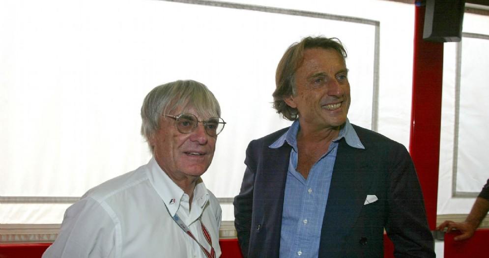L'ex patron della F1 Bernie Ecclestone con l'ex presidente Ferrari Luca di Montezemolo