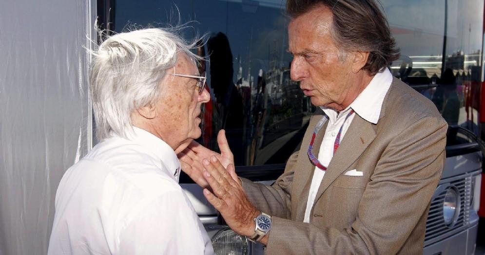 L'ex patron della F1, Bernie Ecclestone, con l'ex presidente della Ferrari, Luca di Montezemolo