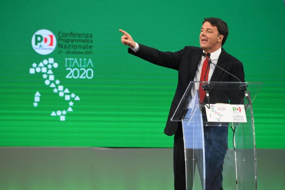 Il segretario del Pd Matteo Renzi alla Conferenza programmatica del Pd a Portici