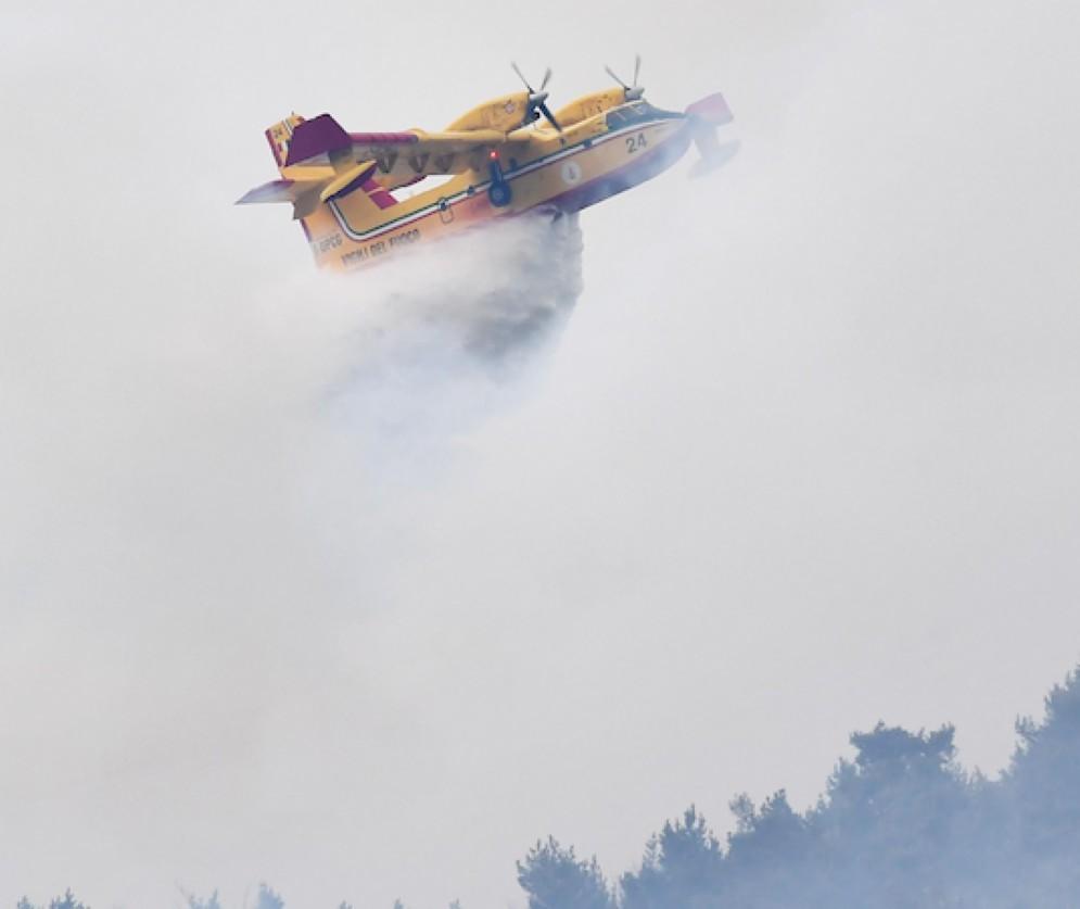 Un canadair in volo per l'emergenza incendi sulle montagne di Mompantero a Susa, Torino (Alessandro di Marco)