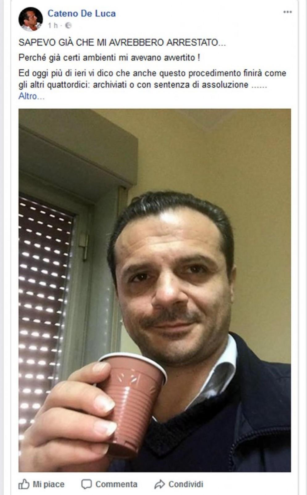 Una foto tratta dal profilo Facebook del neo deputato regionale dell'Udc Cateno De Luca arrestato con l'accusa di evasione fiscale e posto ai domiciliari