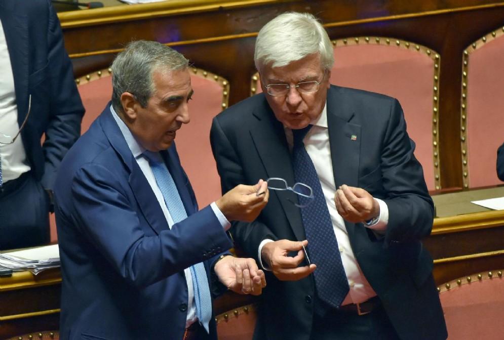 Il vicepresidente del Senato, Maurizio Gasparri, e il capogruppo di Fi, Paolo Romani