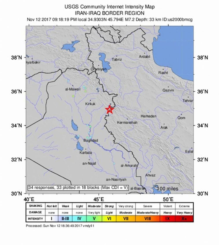 La mappa indica l'epicentro del sisma