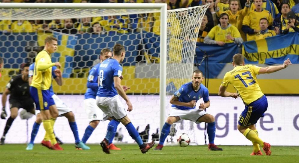 Il gol del vantaggio di Johansson contro l'Italia