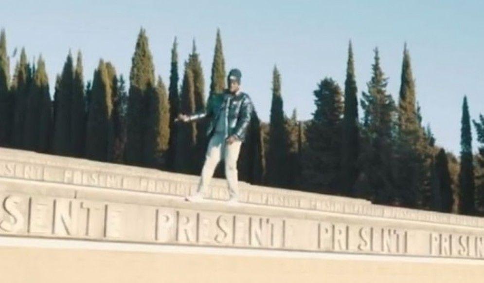 Un fotogramma del video al Sacrario di Redipuglia
