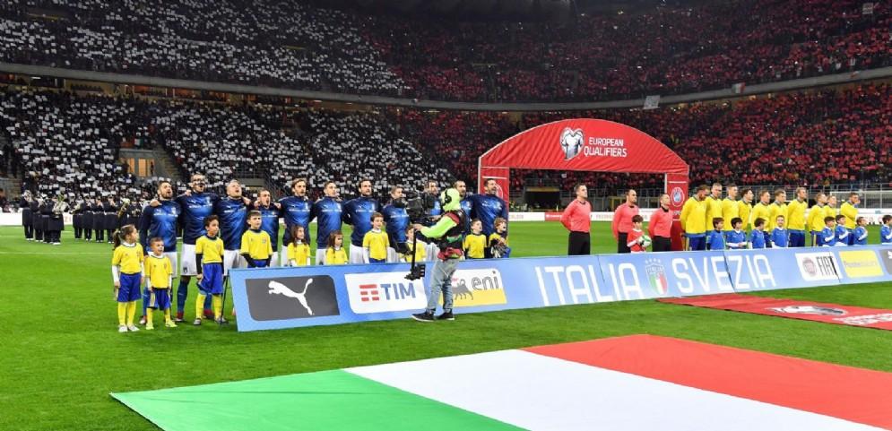La Nazionale azzurra pronta a scendere in campo contro la Svezia