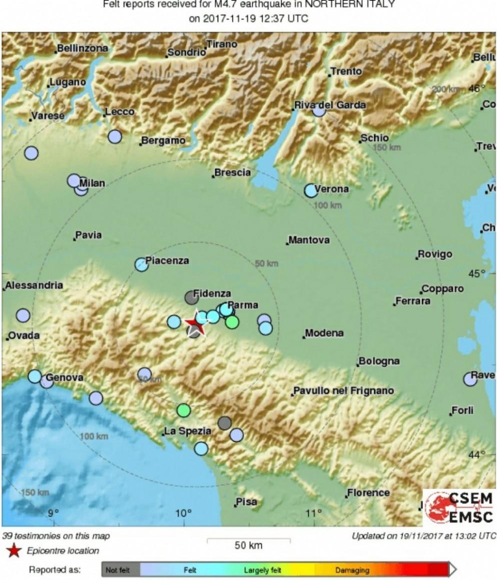 L'epicentro del terremoto nel Parmense