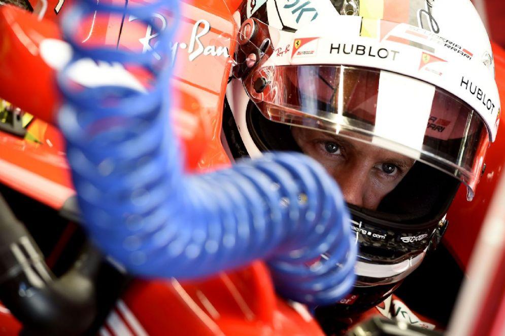 Sebastian Vettel al volante della Ferrari