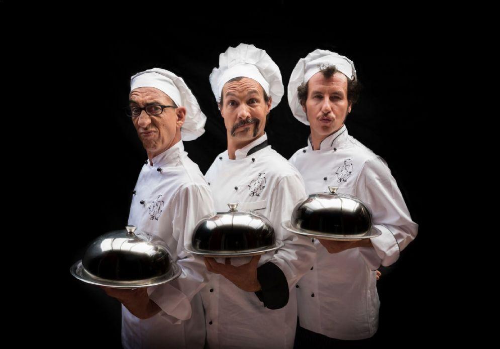 """I protagonisti dello spettacolo """"L'ultima cena. Tre Chefs"""""""