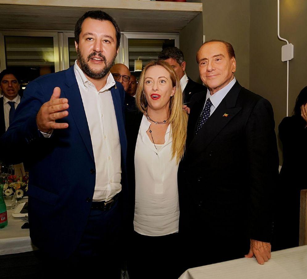 Matteo Salvini, Giorgia Meloni e Silvio Berlusconi in Sicilia