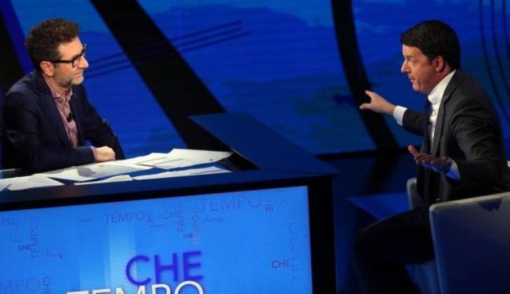 Il segretario del Pd Matteo Renzi a Che tempo che fa con Fabio Fazio