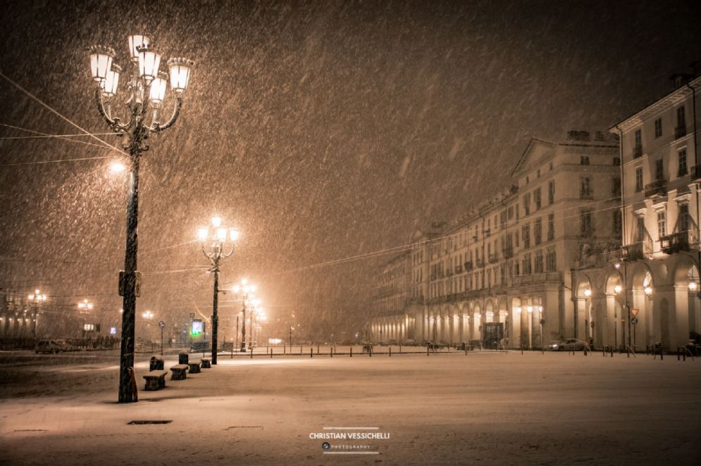 Prima nevicata di dicembre a Torino