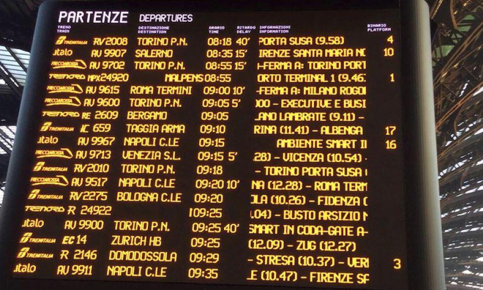 Tabellone delle partenze a Milano. Per Torino ci sono 40 minuti di ritardo