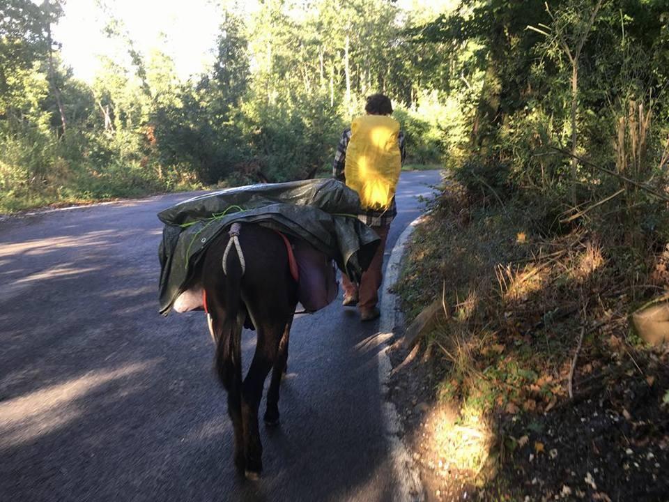Nicola e Fefè in cammino vicino a Norcia, in Umbria