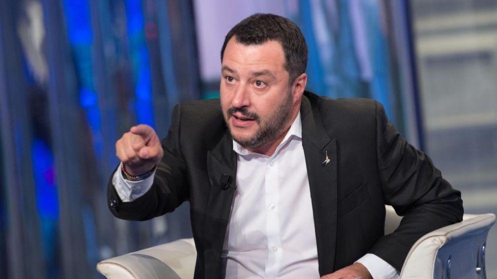 Il leader della Lega Nord, Matteo Salvini, a 'Porta a Porta'