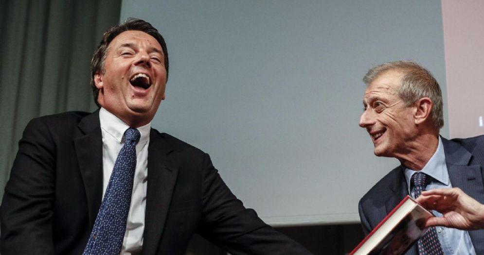 Matteo Renzi e Piero Fassino durante la presentazione del libro di Fassino «Pd davvero»