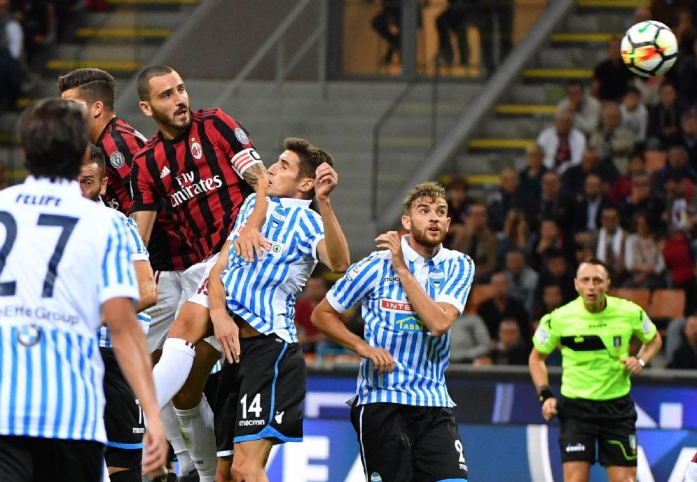 Una fase di gioco dell'ultimo Milan-Spal di campionato