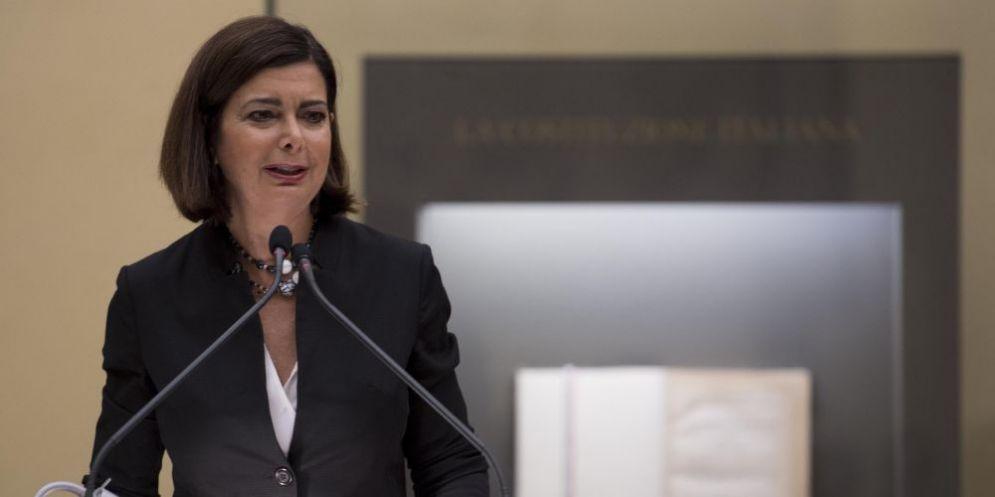 La presidente della Camera, Laura Boldrini, quando è intervenuta a Montecitorio sul tema della violenza sulle donne