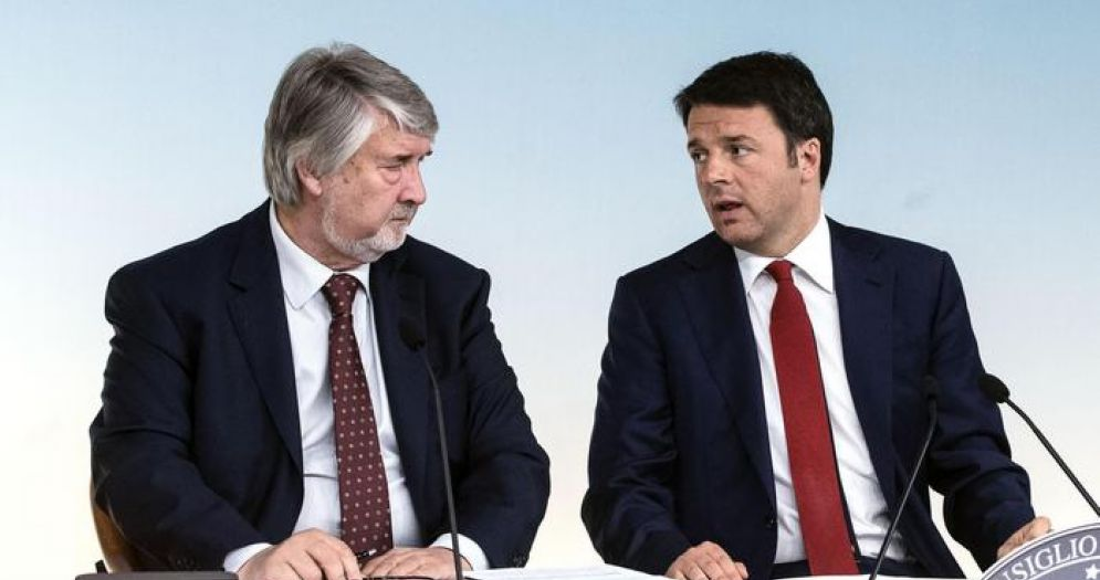 Il Ministro del Lavoro, Giuliano Poletti con l'ex Premier, Matteo Renzi