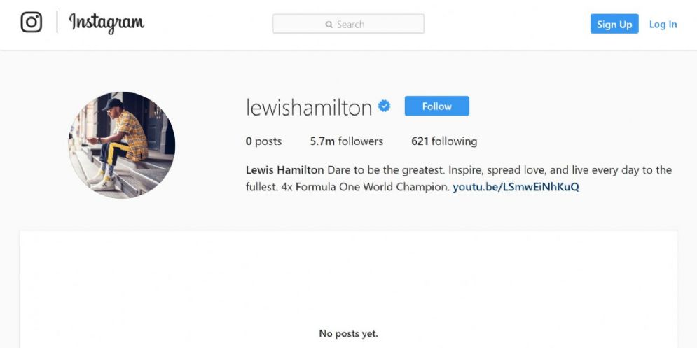 La pagina ufficiale di Lewis Hamilton su Instagram, ora completamente vuota