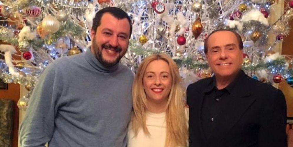 Matteo Salvini, Giorgia Meloni e Silvio Berlusconi al vertice di Arcore