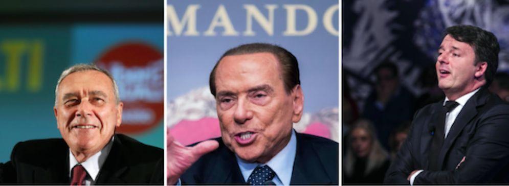 Pietro Grasso, Silvio Berlusconi e Matteo Renzi