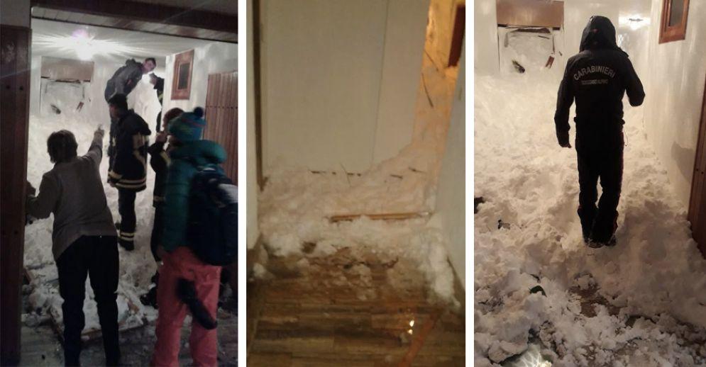 Le immagini della slavina che ha travolto la casa