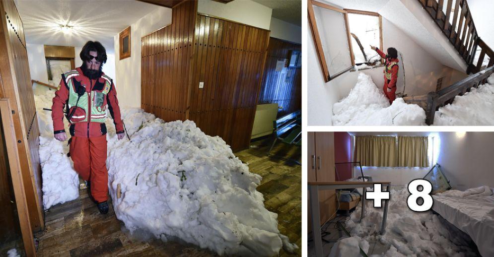 Sestriere, le immagini della slavina che si è abbattuta sul condominio (© ANSA)