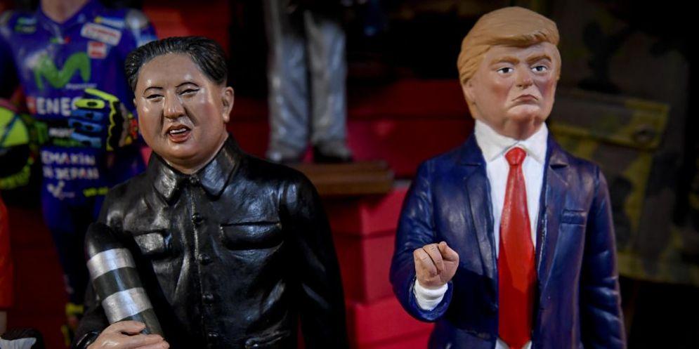 Riproduzioni del dittatore nordcoreano Kim Jong-Un e del presidente Usa Donald Trump.