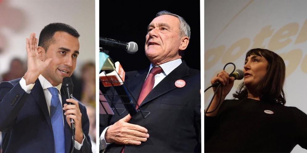 Il leader M5s Luigi Di Maio, quello di LeU Pietro Grasso e quella di Potere al Popolo Viola Carofalo