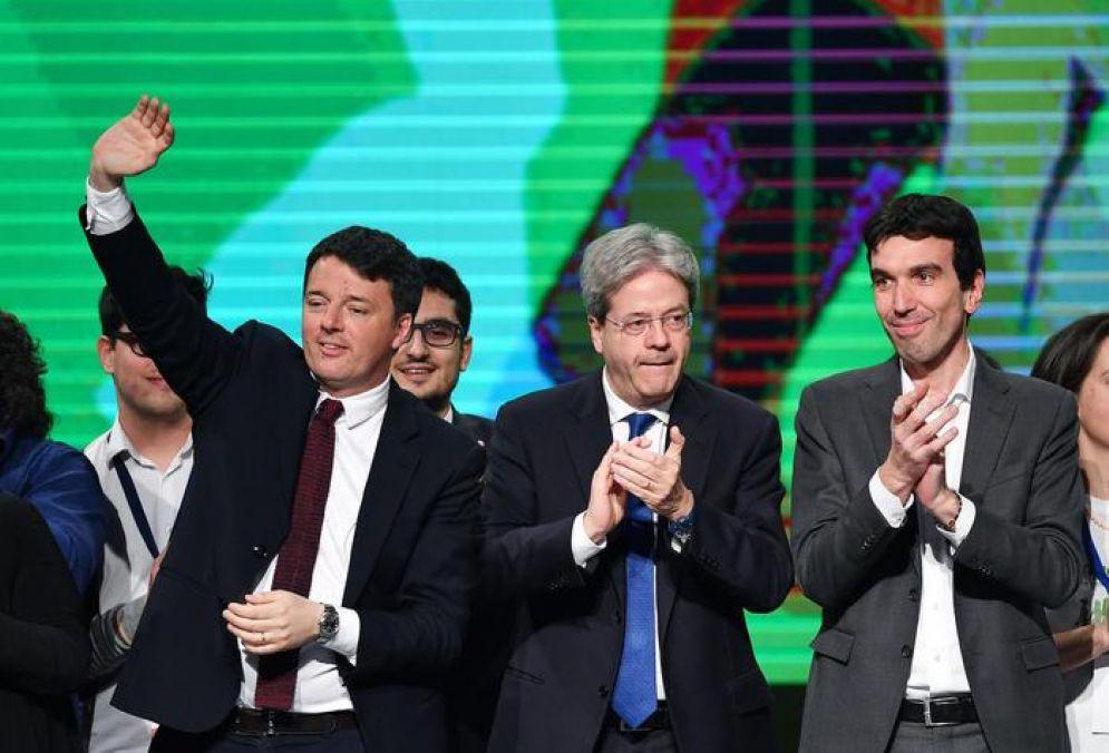 Matteo Renzi, Paolo Gentiloni e Maurizio Martina