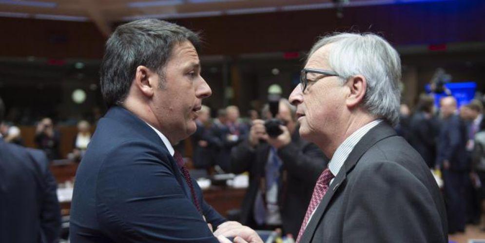 Matteo Renzi con Jean-Claude Juncker, Presidente della Commissione Europea
