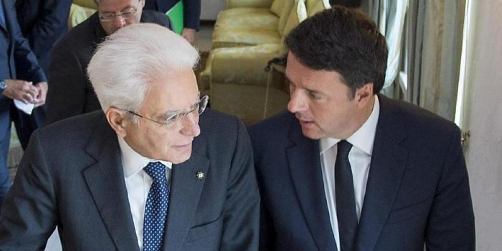 Il Presidente della Repubblica, Sergio Mattarella con l'ex Premier Matteo Renzi