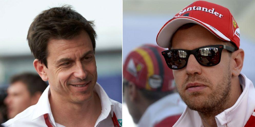 Il team principal della Mercedes, Toto Wolff, e il pilota della Ferrari, Sebastian Vettel