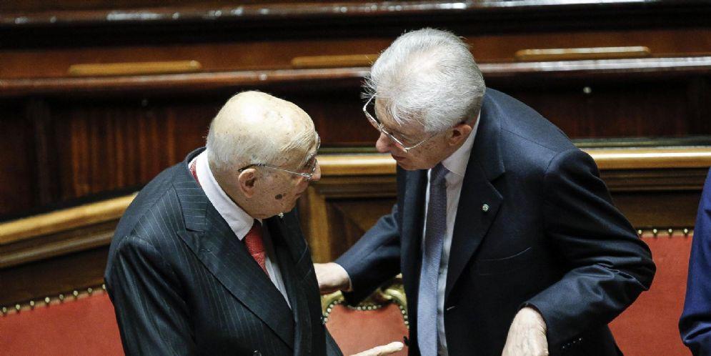Il Presidente emerito della Repubblica, Giorgio Napolitano con l'ex Premier, Mario Monti