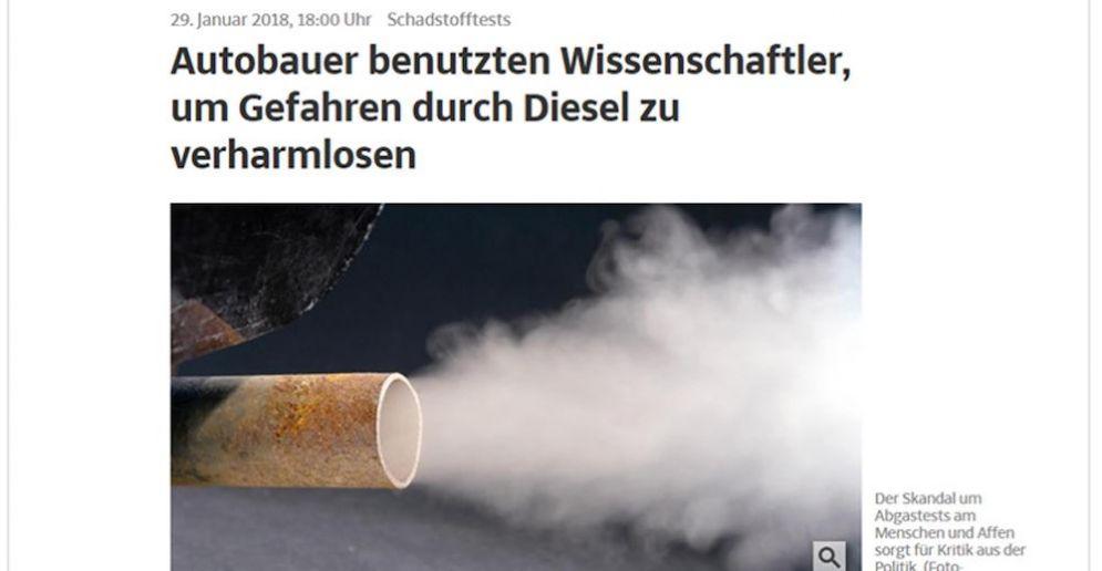 L'arrticolo della Suddeutsche zeitung che denuncia l'uso di cavie umane e scimmie per alcuni test sui diesel.