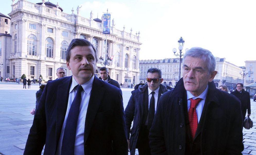 Il ministro dello Sviluppo Economico Carlo Calenda a Torino con Sergio Chiamparino.