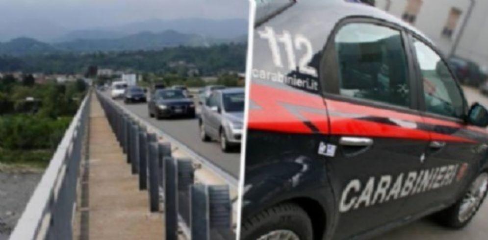 Ponte della tangenziale e pattuglia dell'Arma dei carabinieri