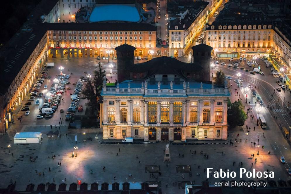 Palazzo Madama di notte, luci in piazza Castello