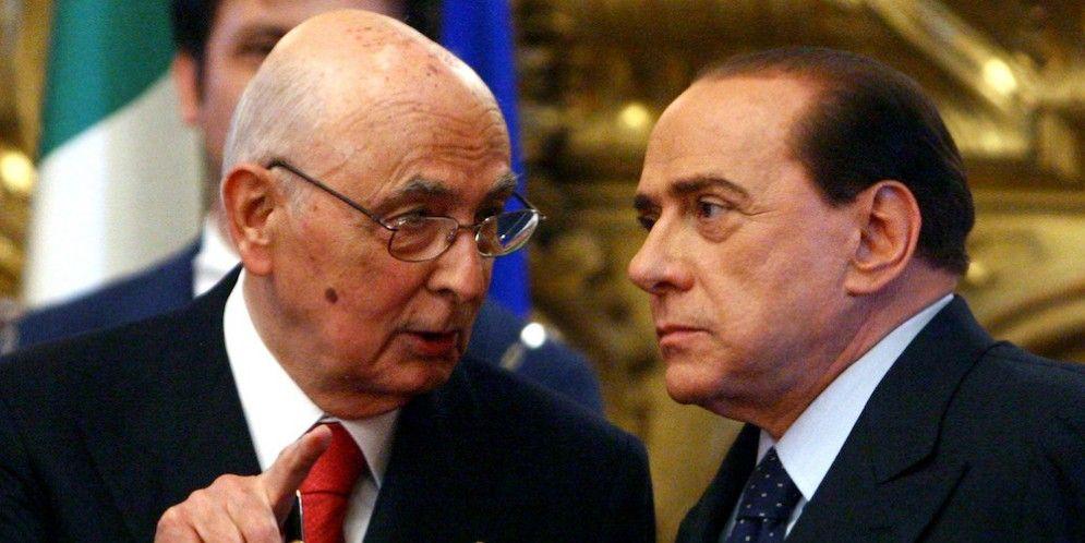 L'ex presidente della Repubblica Giorgio Napolitano e l'ex premier Silvio Berlusconi