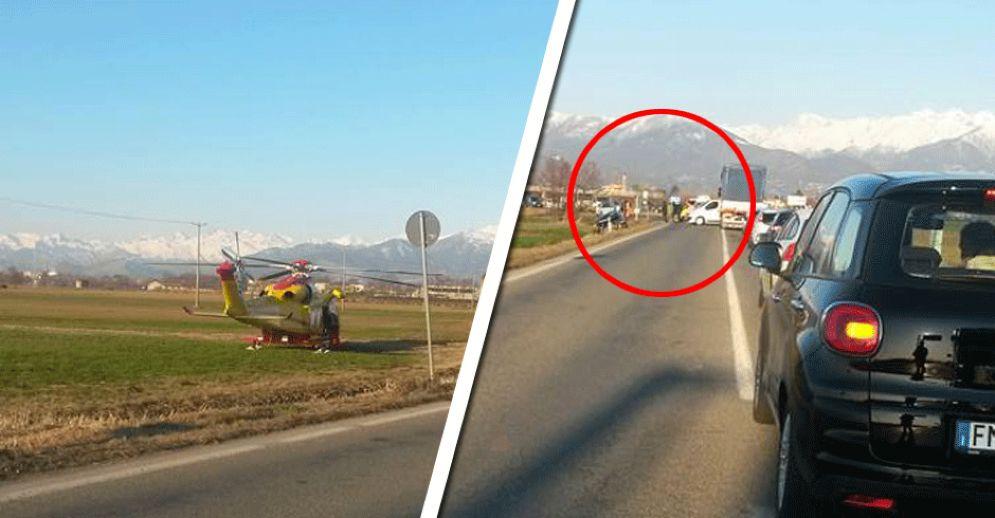 La colonna d'auto formatasi dopo l'incidente