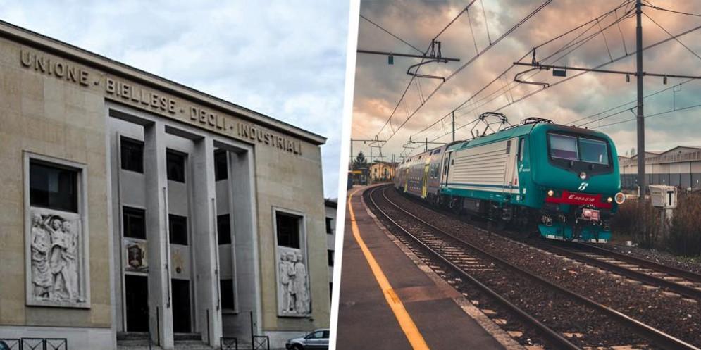 La sede dell'Uib, in via Torino, e un treno della Rfi