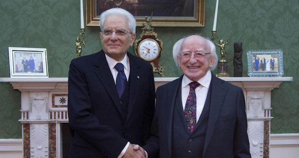 Il presidente della Repubblica Sergio Mattarella e il suo omologo irlandese Michael Higgins